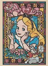 Disney Cross stitch chart Alice in Wonderland Stained Glass 359 FlowerPower37-uk