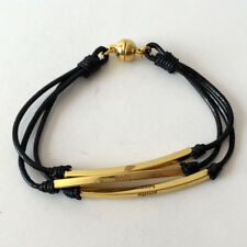 """3 stands black leather bracelet and gold plated tubes with words """"SM... Lot 70C"""