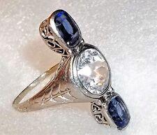 Antique Art Deco 14K White Gold Sapphire Ring 5.6g Three Stone Setting