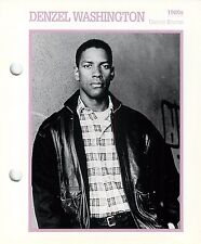 Denzel Washington Actor Movie Star Card Photo Front Biography on Back 6 x 7""