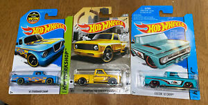 Walmart Hot Wheels Custom 62 Chevy 63 Studebaker Champ 69 Pickup Lot Teal Aqua