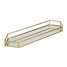 Kate and Laurel Felicia 26x8 Narrow Metal Mirrored Tray Gold
