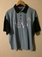 DEVA Sports Polo Top T Shirt Size L Number 1 Blue & Navy <R4867