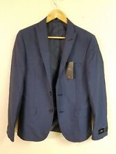 New Moss London Blue Plaid Slim Fit Suit Jacket