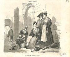Costumes de femmes à Arles Camargue Provence Arlesannes GRAVURE 1843
