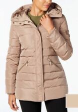 Michael Kors Jacket Coat Puffer Parka Hood Faux Fur Collar Down Truffle $330 XS