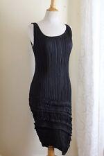 Issey Miyake Sz M Sculptural BLACK Art-Wear Pleats Please Funky Straight Dress -