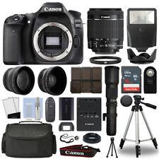 Canon EOS 80D DSLR Camera + 4 Lens 18-55mm IS STM + 500mm + 16GB Telephoto Kit