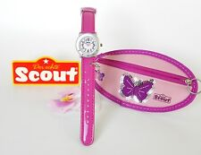 Original Kinderuhr Scout Schmetterling Pink 394002 Action Girl gratis Geldbeutel