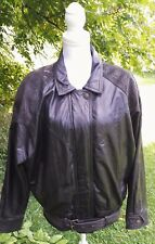 WOMEN'S G-III LEATHER FASHIONS BLACK LEATHER COAT ZIP-OUT LINING SIZE MEDIUM