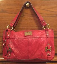 FOSSIL GINGER SATCHEL PURSE RED LEATHER SHOULDER BAG VINTAGE LOOK ZB4463 2010