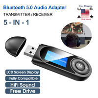 5 in 1 Bluetooth 5.0 Audio Transmitter Receiver USB Adapter for TV PC Car AUX US