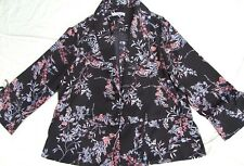 KATIES JACKET SIZE 16 18 NEARLY NEW FAB BLACK FLORAL ABSTRACT