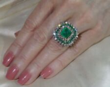 Dazzling 925 Sterling Silver Gemstone 12CT Emerald & White Sapphire Floral Ring