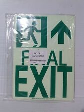 "Lawson/Glo-Brite 11"" x 8""  Photoluminescent FINAL EXIT Sign.  (LS015-1)"