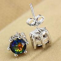 Women Jewelry Silver Clear Round Rainbow Zircon Crystal Ear Studs Earrings Charm