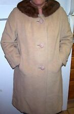 Vintage 1947-1964 SHAGMOOR Camel Wool MINK Collar LINED 3 Button Coat/Size Small