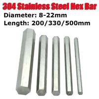 304 Stainless Steel Hex Bar Shaft Rod 200/330/500mm Long Spanner Diameter 8-22mm