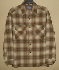 MENS M VINTAGE PENDLETON SHADOW PLAID WOOL FLAP POCKET BOARD SHIRT LOOP COLLAR