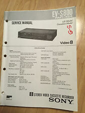Sony Service Manual Set for the EV-S800 Video 8 DAV VCR Cassette Recorder Player