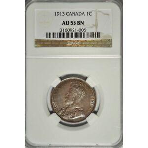 1913 Canadian Large Cent NGC AU 55 BN - Excellent Eye Appeal ! -d15unxx