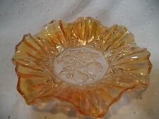 VTG FEDERAL AMBER GOLD YELLOW GLASS SCALLOPED SAWTOOTH EDGE FRUIT BOWL DISH