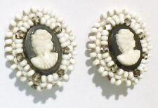 boucles d'oreille clips ancienne petite perle camée buste femme création * 3918