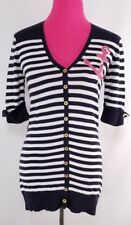 Michael Simon Women's Cardigan Size S Blue White Nautical Theme Striped Short Sl