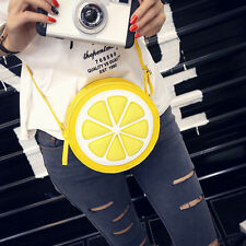 Shoulder Bag Personality Round Leather Lemon Messenger Bag Zipper Handbag Y