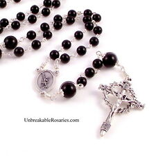St Michael The Archangel Rosary Beads in Black Onyx by Unbreakable Rosaries