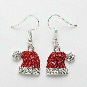 Christmas Earrings Drop Rhinestone Red Christmas Santa Hat Party Xmas Gift