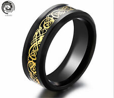 8mm Mens Jewelry Men's Silvering Celtic Dragon Stainless Steel Ring W598 Gold Black 9