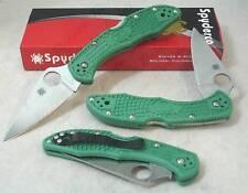 Spyderco GREEN Delica Plain Flat Ground Knife C11FPGR