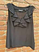 BASQUE Black Faux silk Pleated sleeveless top - 12