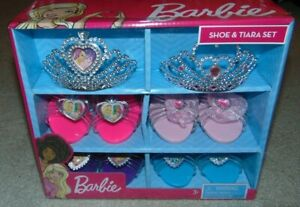 ~NEW Girls BARBIE 4 Shoes & 2 Tiaras Set! Super FS:)~