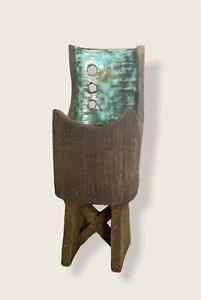 Vintage Clive Brooker 'Ikbana' Textured Studio Pottery Footed Vase Modernist
