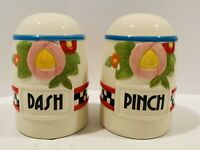 Rare Mary Engelbreit Salt & Pepper Shakers Dash Pinch Recipe For Happiness 2003