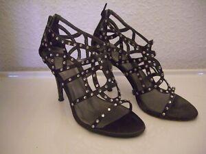 Stiletto SHM Schuh Größe 40 Textil mit viel Bling Bling  (Strass)