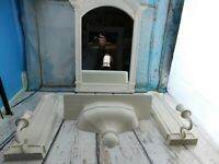 Home Interiors Vintage Distressed Bathroom Bedroom Mirror Shelf Candlestick Set