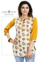 Women Indian Kurti Tunic Kurta Floral Shirt Short Dress Cotton Printed MM257