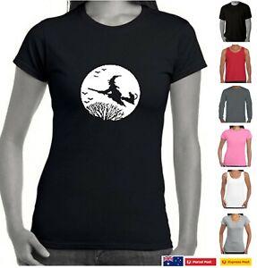 Witch moon broom cat tree funny T-shirt Singlets Women's Ladies size magic pagan