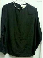Ladies Vintage Black Dressy Dress Suit Blouse》Houndstooth Collar Trim》Size 10