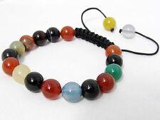 Fine Shambhala bracelet all 10mm Natural Multicolor Chalcedony Agate Gems Beads