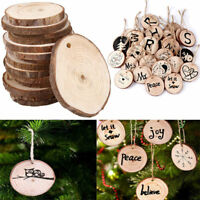 10pcs Wooden Christmas Tree Gift Tags Wood Slice Blank Hanging Decor Ornament