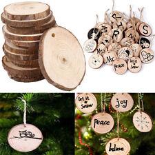 Lot 10Pcs Wood Christmas Tree Ornaments Props DIY Kids Painting Decor Craft Tags