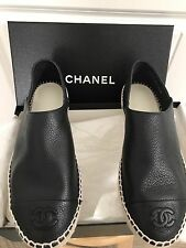 New 2017 CHANEL Black Pebble Leather Espadrilles CC Flat Shoes Sz 37 Gorgeous!