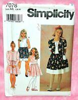 Uncut Simplicity Girls 7-10 Special Occasion Dress & Bolero Jacket Pattern 7078