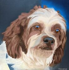Dog portrait painting wall art animal lover gift original oil on canvas 20x20