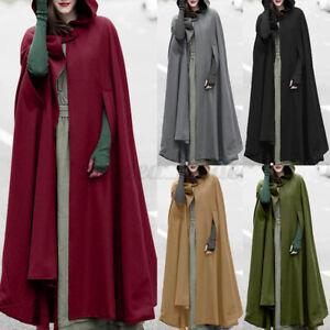 UK Women Hooded Overcoat Long Coat Jacket Cloak Poncho Solid Cape Outerwear Plus