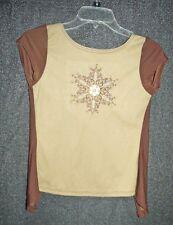 Vtg 90s tan & brown faux suede top Size S open back vintage but unworn